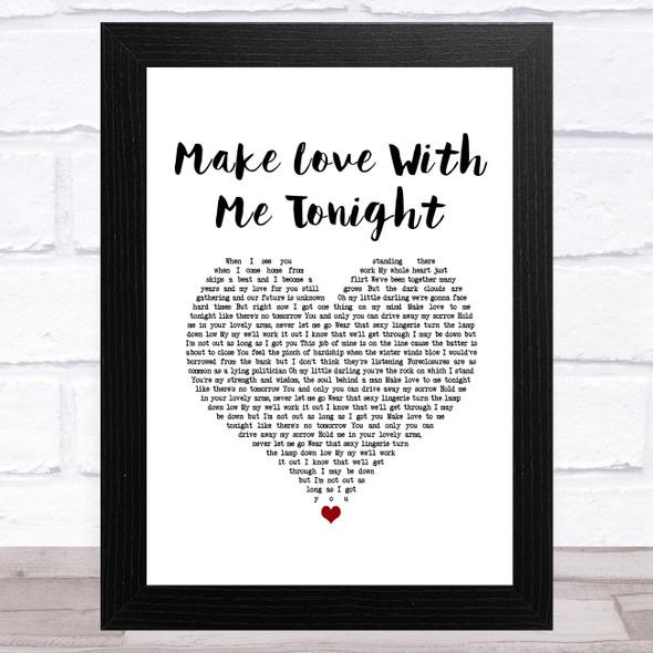 Rod Stewart Make Love With Me Tonight White Heart Song Lyric Music Art Print