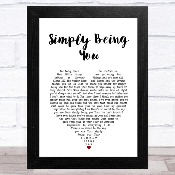 Isla Grant Simply Being You White Heart Song Lyric Music Art Print
