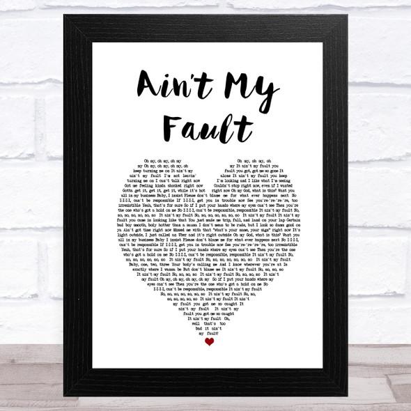 Zara Larsson Ain't My Fault White Heart Song Lyric Music Art Print