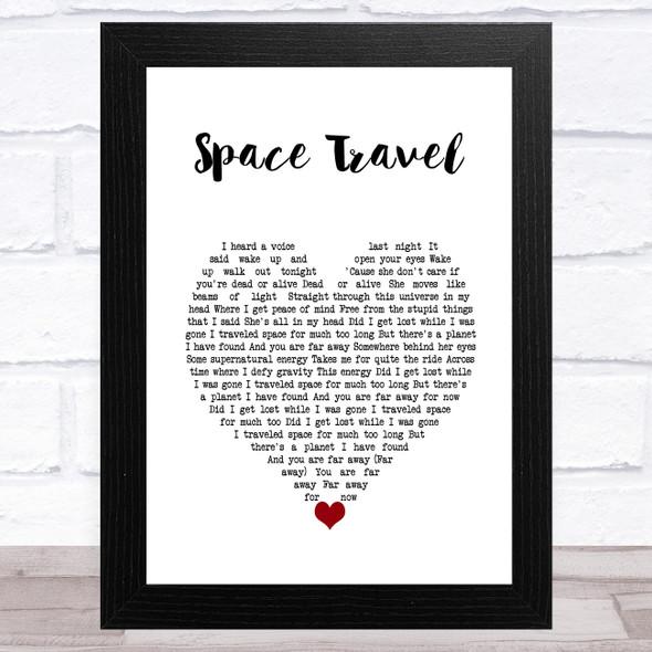 Yellowcard Space Travel White Heart Song Lyric Music Art Print