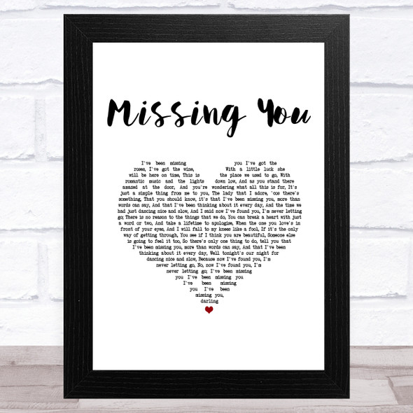 Chris De Burgh Missing You White Heart Song Lyric Music Art Print