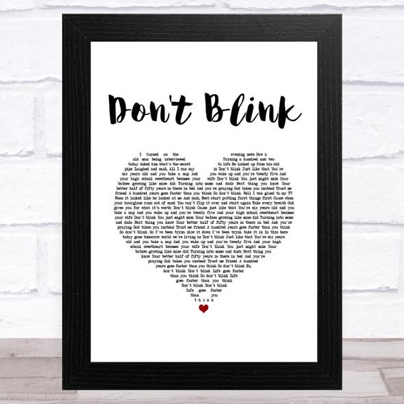 Kenny Chesney Don't Blink White Heart Song Lyric Music Art Print