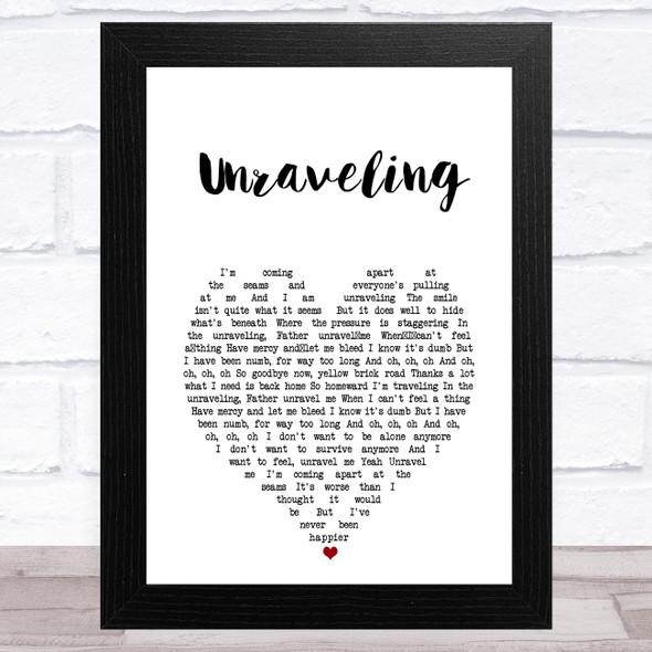 Cory Asbury Unraveling White Heart Song Lyric Music Art Print