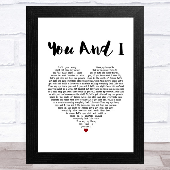 Ingrid Michaelson You And I White Heart Song Lyric Music Art Print