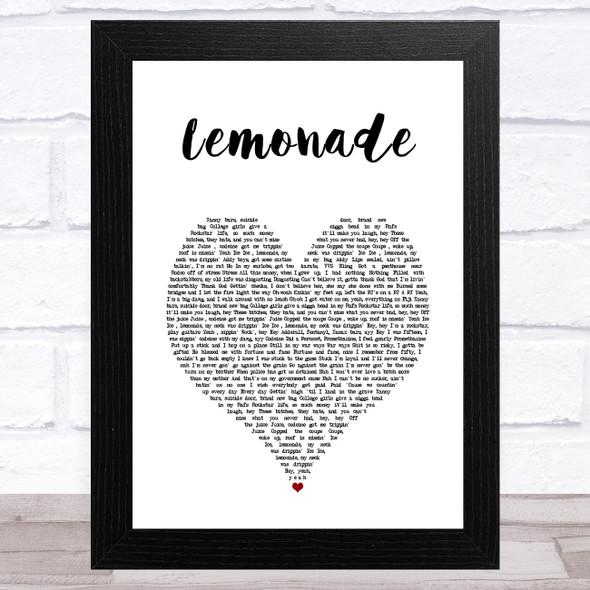 Internet Money Lemonade White Heart Song Lyric Music Art Print