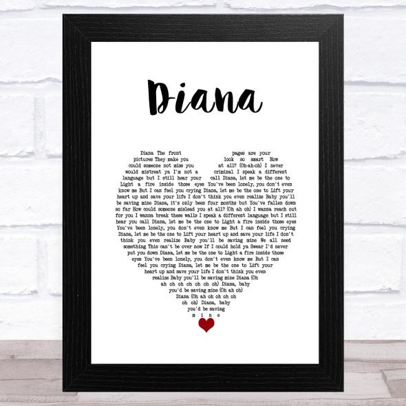 One Direction Diana White Heart Song Lyric Music Art Print