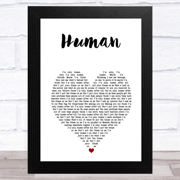 Rag'n'Bone Man Human White Heart Song Lyric Music Art Print