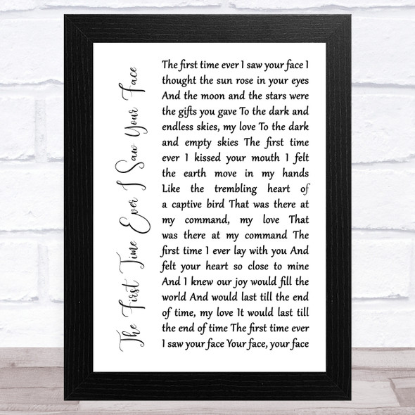 Roberta Flack The First Time Ever I Saw Your Face White Script Song Lyric Music Art Print