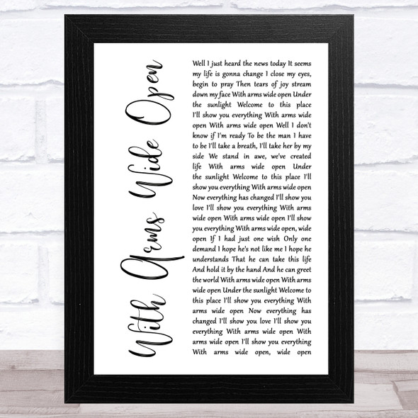 Creed With Arms Wide Open White Script Song Lyric Music Art Print