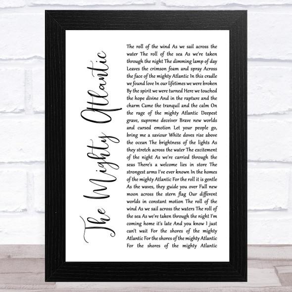 Runrig The Mighty Atlantic White Script Song Lyric Music Art Print