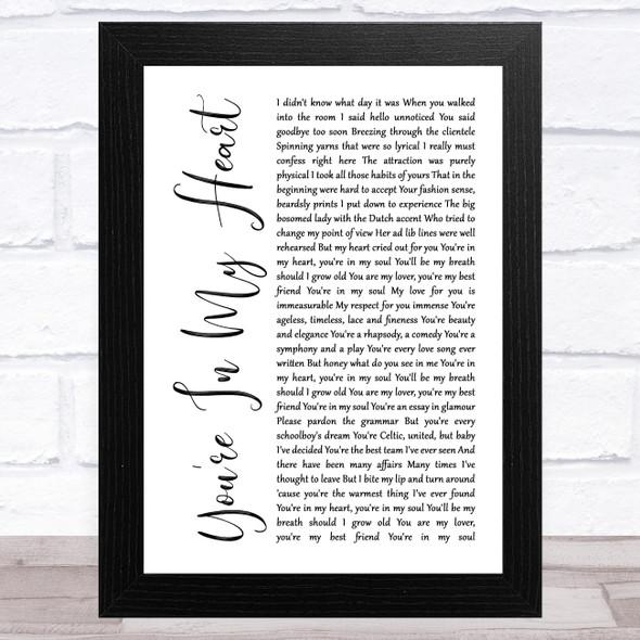 Rod Stewart You're In My Heart White Script Song Lyric Music Art Print