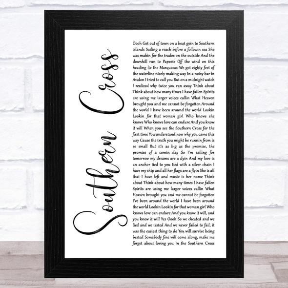 Crosby, Stills & Nash Southern Cross White Script Song Lyric Music Art Print