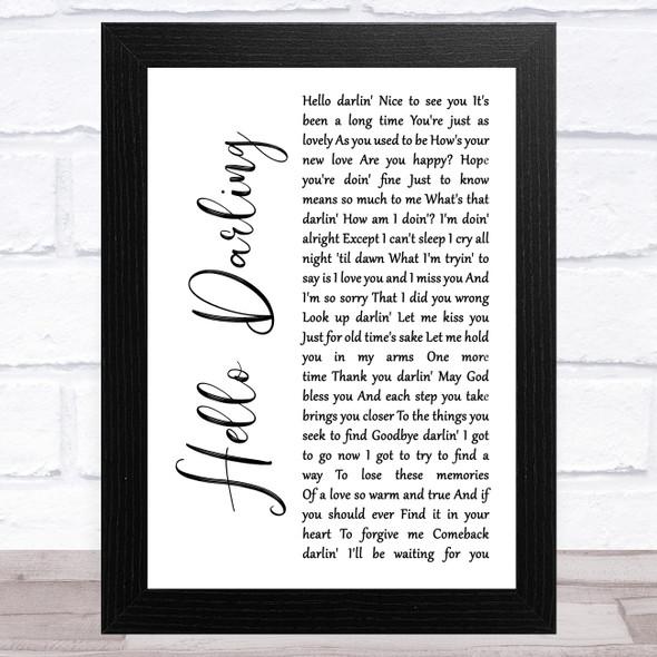 Conway Twitty Hello Darling White Script Song Lyric Music Art Print