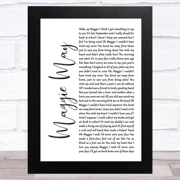 Rod Stewart Maggie May White Script Song Lyric Music Art Print