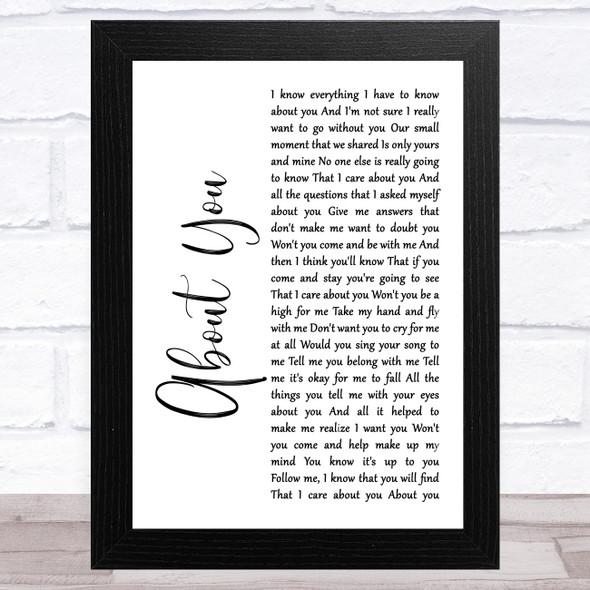 Cecilio & Kapono About You White Script Song Lyric Music Art Print