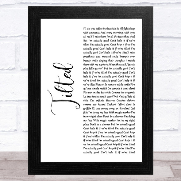 Christine and the Queens Tilted White Script Song Lyric Music Art Print