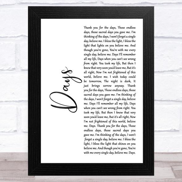The Kinks Days White Script Song Lyric Music Art Print