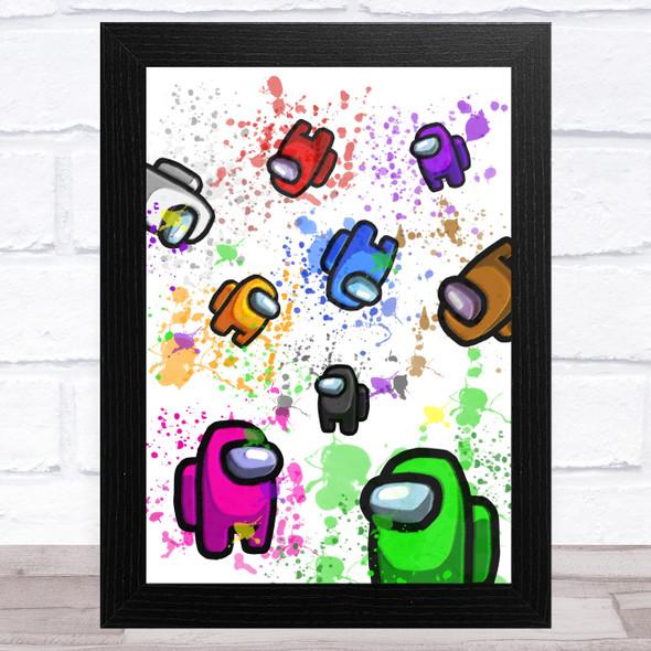 Among Us Characters & Pets In Space Splatter Art Children's Kids Wall Art Print