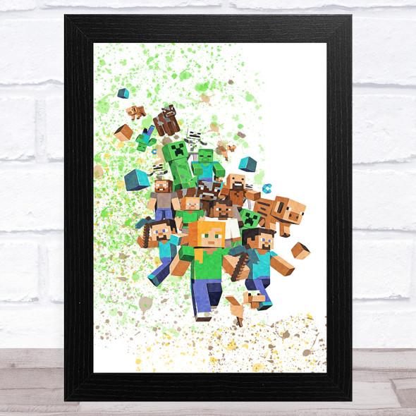 Minecraft Let The Fun Begin Splatter Art Children's Kids Wall Art Print