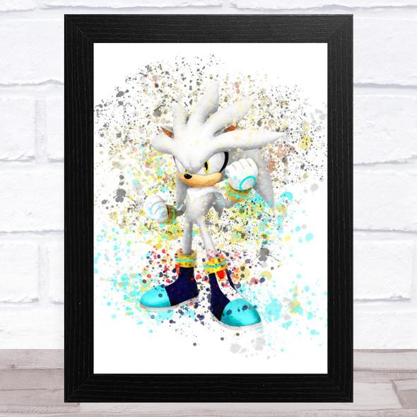 Silver Sonic The Hedgehog Splatter Art Children's Kids Wall Art Print