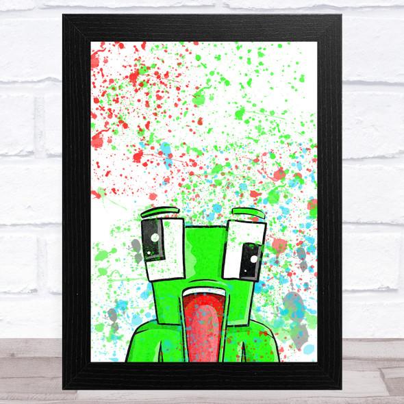 Unspeakable Youtuber Frog Splatter Art Children's Kids Wall Art Print