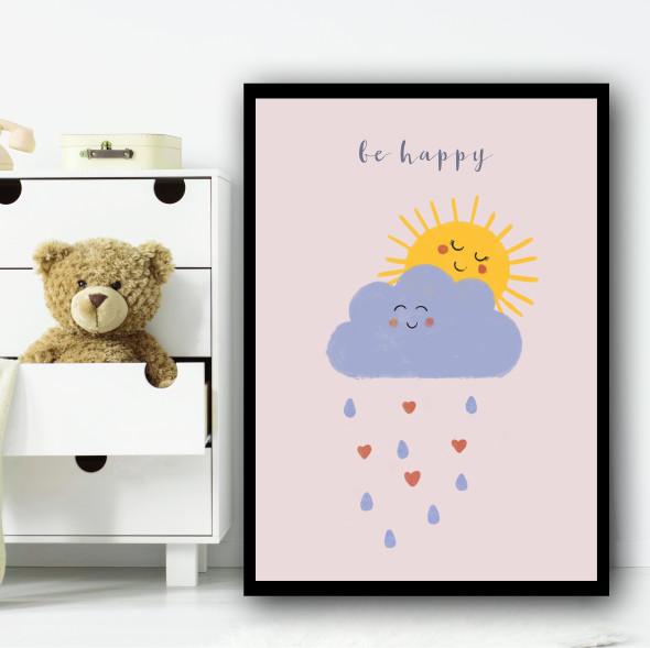 Be Happy Sunshine Clouds Dusky Pink Children's Kids Wall Art Print