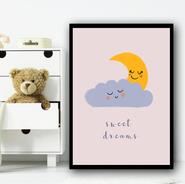 Sweet Dreams Moon Cloud Dusky Pink Children's Kids Wall Art Print