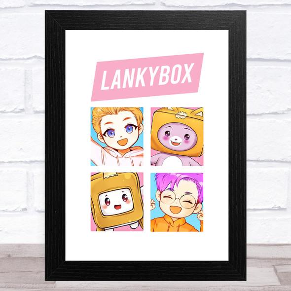 Lankybox Justin Adam Boxy & Foxy Children's Kids Wall Art Print
