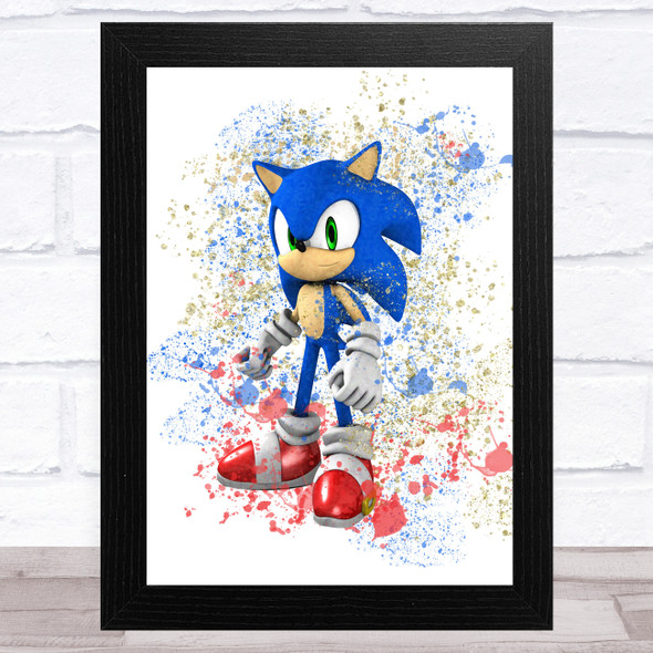Sonic The Hedgehog Splatter Art Children's Kids Wall Art Print