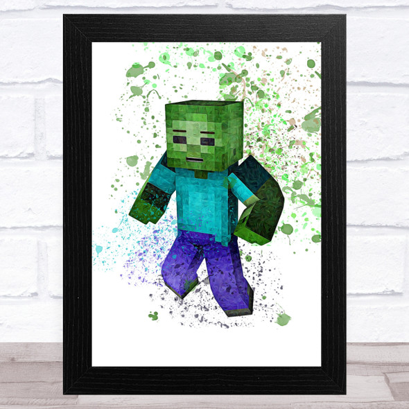 Minecraft Zombie Splatter Art Children's Kids Wall Art Print
