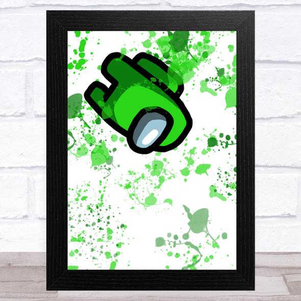 Among Us Green Splatter Art Children's Kids Wall Art Print