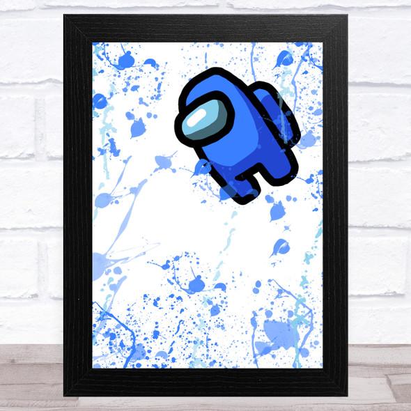 Among Us Blue Splatter Art Children's Kids Wall Art Print