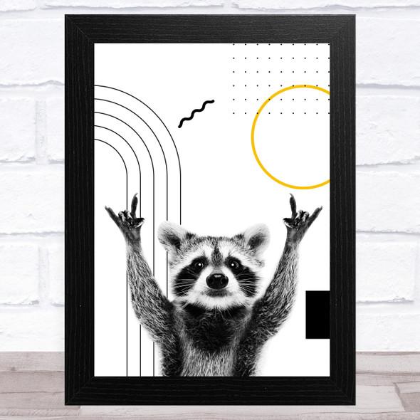 Abstract Raccoon Black Yellow Geometric Shapes Home Wall Art Print