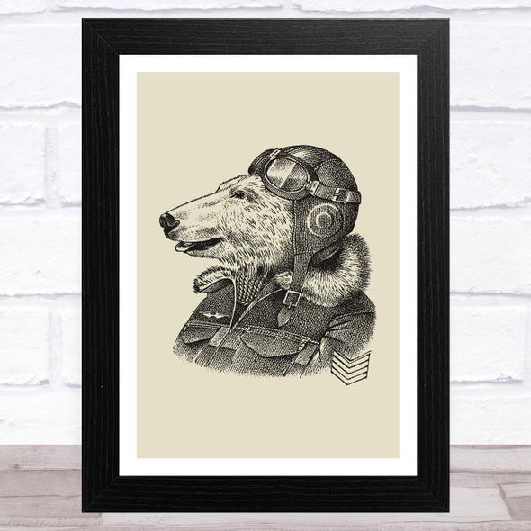 Vintage Black Polar Bear With Pilot Helmet On Olive Green Home Wall Art Print