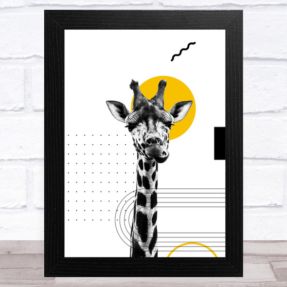 Abstract Giraffe With Black And Yellow Geometric Shapes Home Wall Art Print