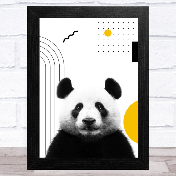 Abstract Panda With Black And Yellow Geometric Shapes Home Wall Art Print
