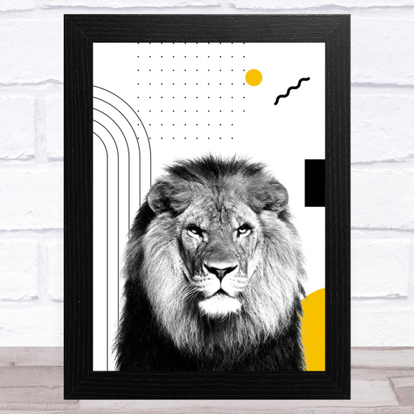 Abstract Lion With Black And Yellow Geometric Shapes Home Wall Art Print