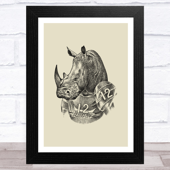 Vintage Black Rhino In Rugby Top On Olive Green Home Wall Art Print
