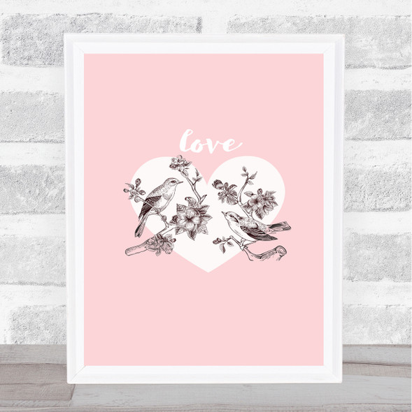 Birds On A Branch Of Apple Blossoms With Heart Home Wall Art Print