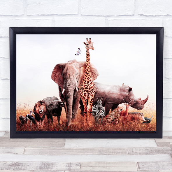 Group Of African Safari Animals Sunset Filter Home Wall Art Print