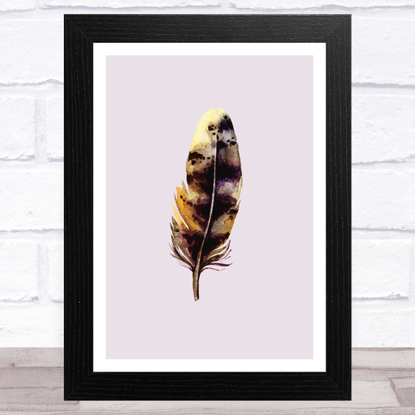 Dusky Lilac Taupe Feather Collection Design 6 Home Wall Art Print