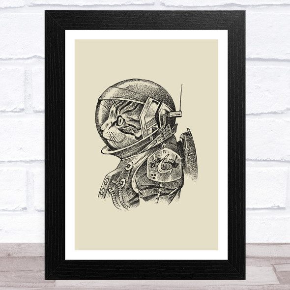 Vintage Black Cat Astronaut On Olive Green Home Wall Art Print