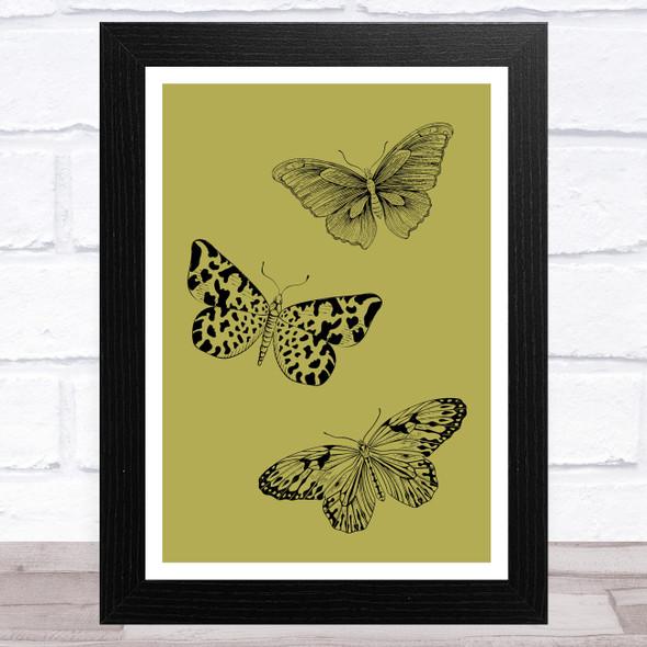 Black Butterflies On Green Background Home Wall Art Print