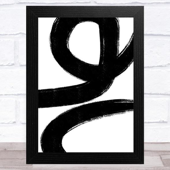Abstract Black White Swirls Design 1 Home Wall Art Print
