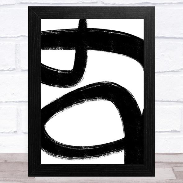 Abstract Black White Swirls Design 2 Home Wall Art Print
