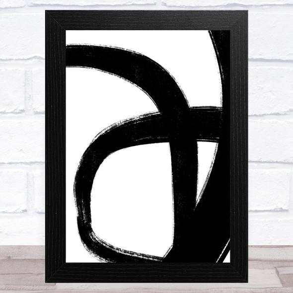 Abstract Black White Swirls Design 3 Home Wall Art Print
