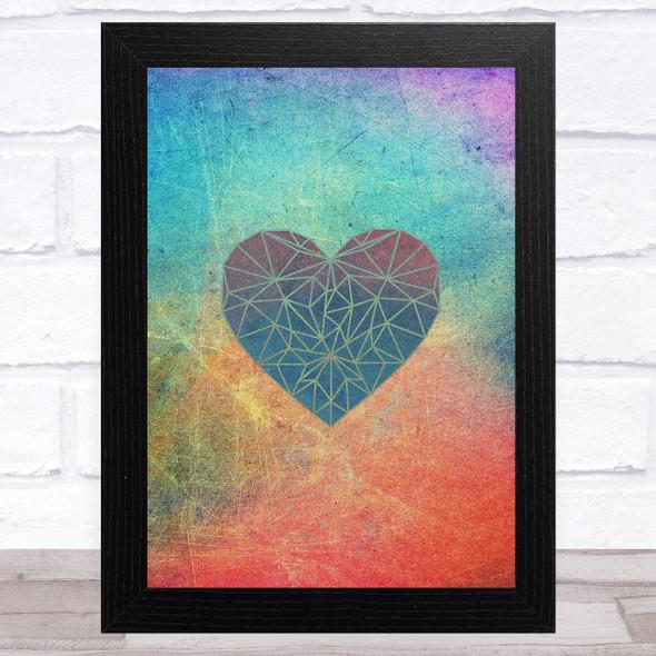 Colourful Rainbow Geometric Heart Home Wall Art Print