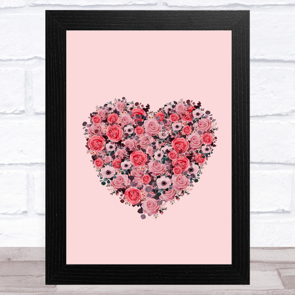 Flowers Heart On Pink Background Home Wall Art Print