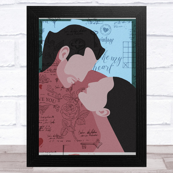 Kissing Couple Vintage Abstract Home Wall Art Print
