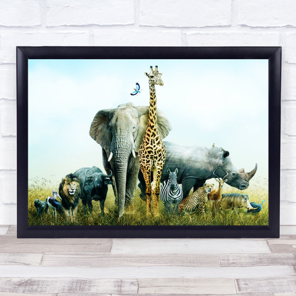 Group Of African Safari Animals Home Wall Art Print